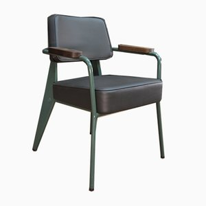 Green Leather and Metal Lounge Chair by Jean Prouvé for Vitra, 2000s