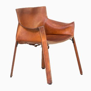 Cognac Leather Model P90 Armchair by Giancarlo Vegni for Fasem, 1980s