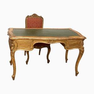 Italienischer Schreibtisch aus 19. Jhdt. Und Stuhl aus Vergoldetem Holz, 2er Set