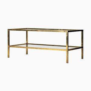 Mid-Century Brass 2-Tier Coffee Table