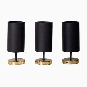 Brass and Black Spot or Wall Lights by Parscot Editions, 1950s, Set of 3