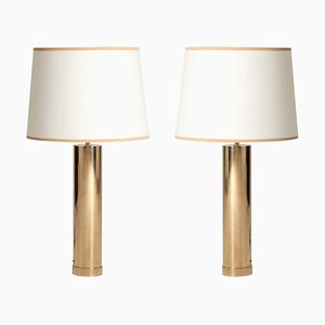 Large Mid-Century Brass Table Lamps by Bergbom, Set of 2