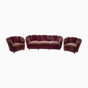 Mid-Century Italian Curved Sofa and Chairs Set by Gio Ponti for Casa e Giardino, 1930s, Set of 3