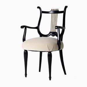 Ebonisierte Vintage Art Deco Messing Sessel, 4er Set