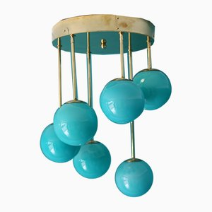Mid-Century Short 6-Light Chandelier in Brass and Turquoise Blue Murano Glass Globes, 1980s