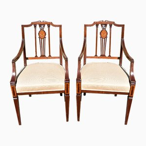 Mid-Century English Mahogany Flower Marquetry Dining Chairs, Set of 6