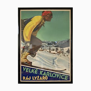 Art Deco Ski Resort Advertising Poster, 1930s
