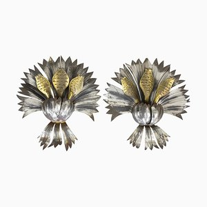 Wall Sconces in Silvered and Gilt Iron, 1950s, Set of 2