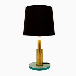 Italian Brass and Glass Table Lamp Attributed to Fontana Arte