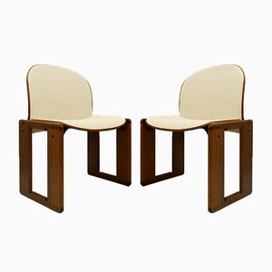 Walnut & Chevron Fabric Dialogo Chairs by Afra and Tobia Scarpa for B&B Italia, 1973, Set of 2