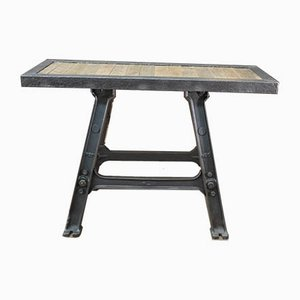 Industrial Oak and Metal Console Table, 1920s
