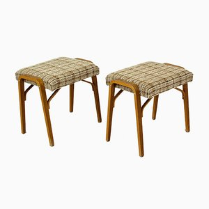 Mid-Century Bent Plywood Stools from Drevopodnik Holesov, 1960s, Set of 2