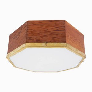 Italian Octagonal Brass and Frosted Flush Lamp in the Style of Franco Albini, 1950s
