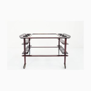 Italian Mahogany Serving Bar Cart Attributed to Cesare Lacca, 1950s