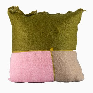 Pastel Mohair Patchwork Cushion by Dinsh London
