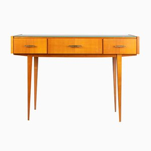 Vintage Cherry & Glass Console Table, 1960s