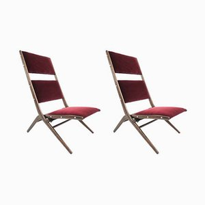 Italian Model Congo Pliable Lounge Chairs by Augusto Romano, 1950s, Set of 2