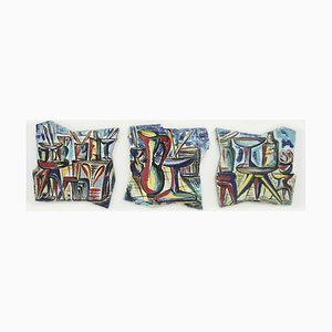 Large Italian Decorative Cocktail Bar Ceramic Tiles, 1950s, Set of 3
