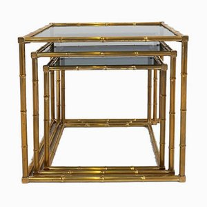 French Brass Bamboo Nesting Tables Attributed to Maison Baguès, 1960s