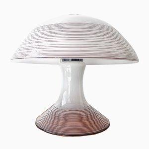 Murano Glas Tischlampe in Schwarz & Weiß Zugeschrieben an Roberto Pamio und Renato Toso für Leucos, 1970er