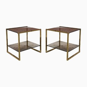 Vintage Italian Square Brass and Double Smoked Glass Coffee Table, 1970s