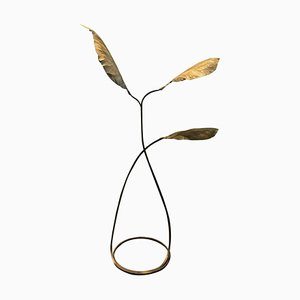 Brass 3-Leaf Floor Lamp by Tommaso Barbi, Italy, 1970s