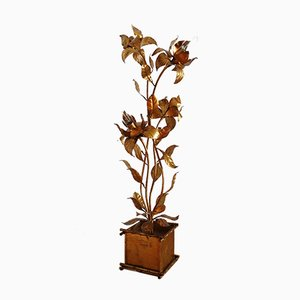 Vintage Golden Floor Lamp with Gilt Illuminated Flowers by Hans Kögl, 1970s
