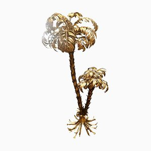 Gilt Metal Two-Trunk Palm Tree Floor Lamp by Hans Kögl, Germany, 1970s