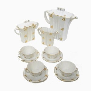 Art Deco Coffee Service in Porcelain with Gilded Graphic Decoration from Epiag, 1920s, Set of 7