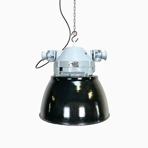 Vintage Grey Cast Aluminium and Black Enameled Explosion Proof Lamp from Elektrosvit, 1970s