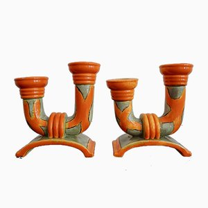 Czechoslovak Ceramic Candleholders, 1930s, Set of 2
