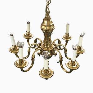 Lampadario a 8 luci in metallo dorato e metallo, anni '70