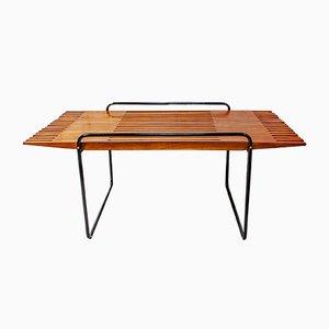 Table Basse en Merisier et Métal Style Ettore Sottsass, Italie, 1950s