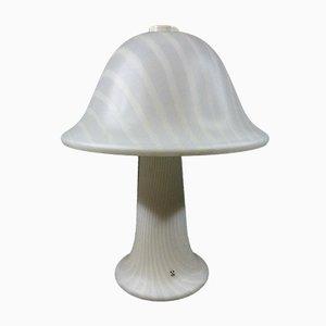 Große Gestreifte Glas Mushroom Tischlampe von Peill & Putzler, 1970er