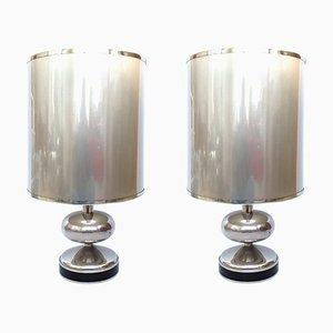Spanische Chrom Tischlampen, 1970er, 2er Set
