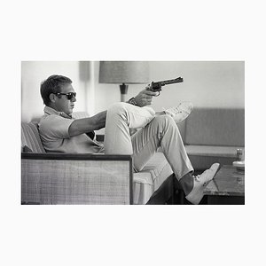 Steve Mcqueen Takes Aim Framed C Print by John Dominis