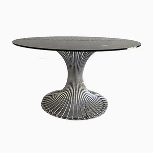 Mid-Century Italian Chrome Dining Table with Smoked Glass Top in the Style of Platner, 1970s