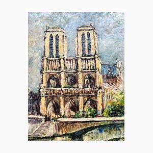 Peinture à l'Huile Notre Dame de Paris par E. Obrecht, 1930s