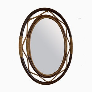 Mid-Century French Wicker and Cane Two-Tone Oval Wall Mirror, 1960s