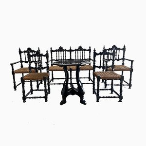 Mid-century Portuguese Black Painted Wood and Straw Living Room Set, 1960s, Set of 6