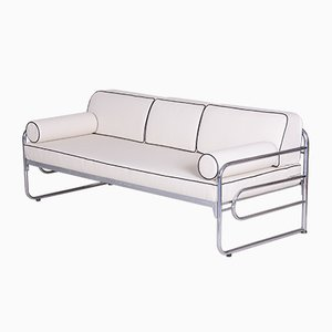 Bauhaus Ivory Tubular Chrome & Leather Sofa from Mücke Melder, 1930s