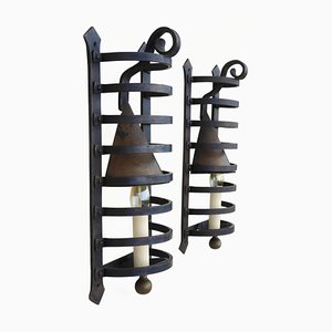 Vintage French Wrought Iron Sconces, Set of 2
