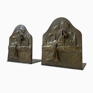 Serre-Livres avec Bronze et Hameau de Ægte Klokke Bronze, 1930s, Set de 2