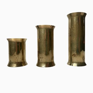 Danish Cylindrical Brass Tea Light Holders, 1970s, Set of 3