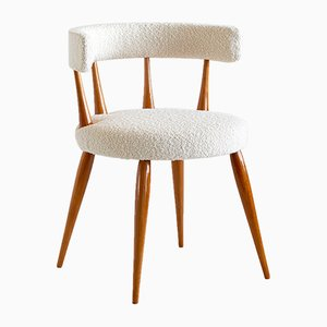 Danish Beech and Dedar Bouclé Side Chair Attributed to Magnus Stephensen, 1950s