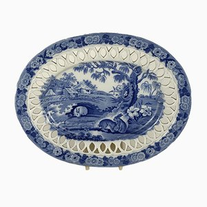 English Oval Stand Blue and White Transferware with Grazing Rabbits, 1830s