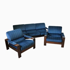 Scandinavian Rosewood Sofa and Armchairs, 1960s, Set of 3