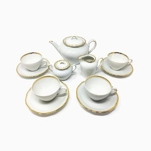 German Art Deco White Tea Set, 1930s, Set of 7