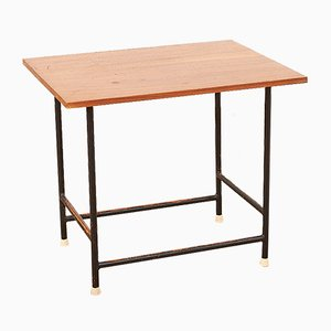 Mid-Century Black Tubular Steel and Solid Teak Top Side Table