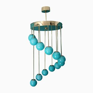 Mid-Century Long Turquoise Blue Murano Glass Staircase Chandelier, 1980s